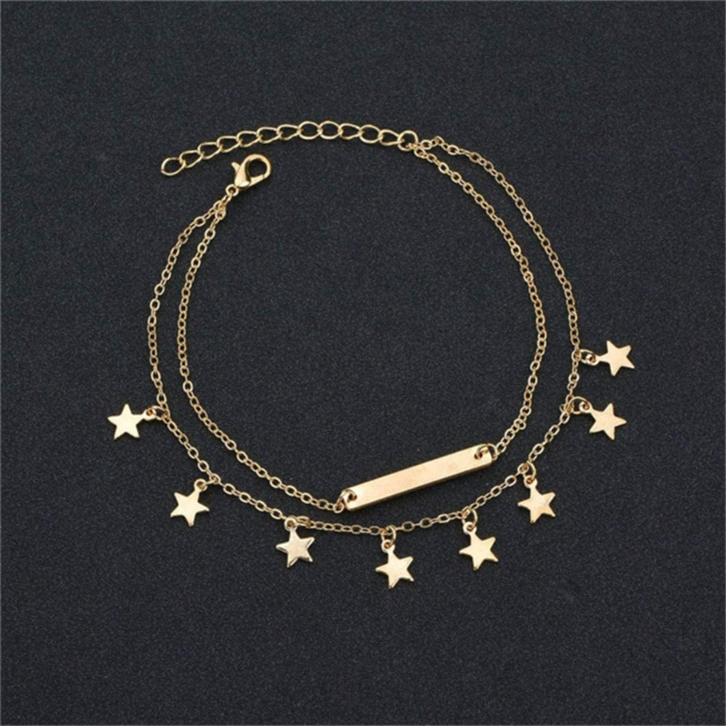Sperrins Double layer Star Pendant Ankle Bracelets Chain Beach Foot Jewelry Adjustable for Women