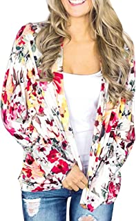 ANJUNIE Women's Cardigan Floral Print Cardigan Loose Shawl Asual Cover Up Tops Jacket Outwear Parkas