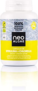 Spirulina y Chlorella en Cápsulas | Producción 100% Orgánica| Spirulina y Chlorella Ecológica | Tomadas Juntas Potente Efecto