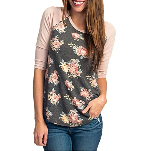 1ea1623a45e CEASIKERY Women's Blouse 3/4 Sleeve Floral Print T-Shirt Comfy Casual Tops  for
