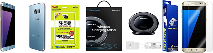 Straight Talk Samsung Galaxy S7 Edge Blue Coral Bundle With Samsung Wireless Charging Pad & An ArmorSuit Screen Protector Bundle (Renewed)