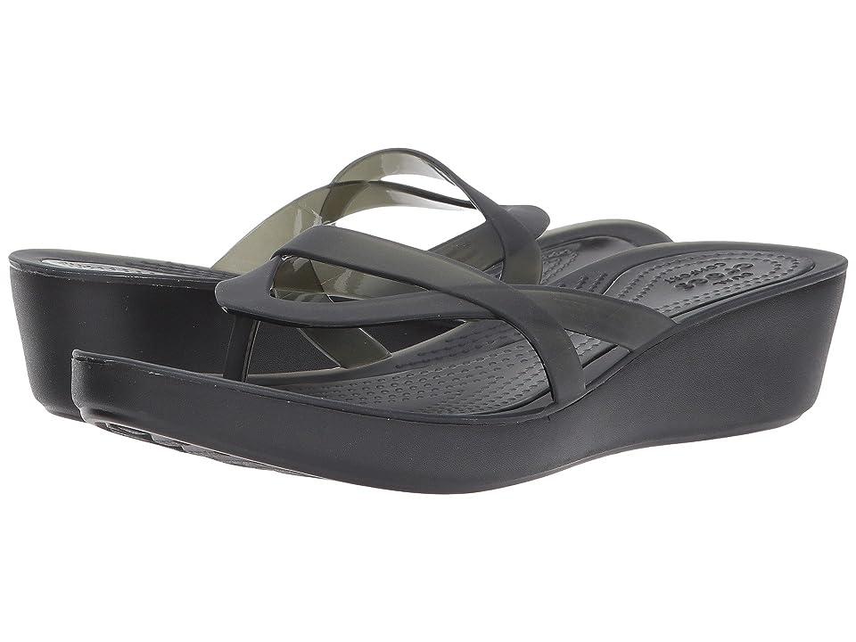 Crocs Isabella Wedge Flip (Black/Black) Women