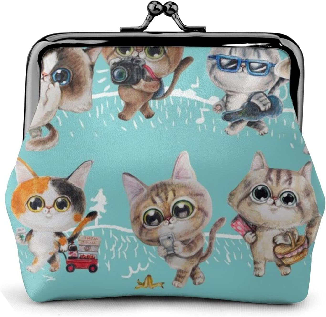 Cats On The 1429 Women'S Wallet Buckle Coin Purses Pouch Kiss-lock Change Travel Makeup Wallets, Black, One Size