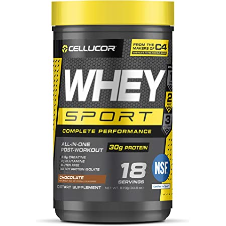 Cellucor Whey Sport Protein Powder Chocolate   Post Workout Recovery Drink with Whey Protein Isolate, Creatine & Glutamine   18 Servings
