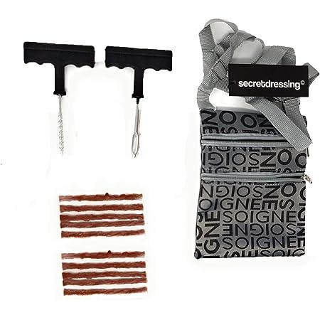 SECRETDRESSING - Kit crevaison Outils + 10 meches + Sacoche de Transport Double Fermeture - répare pneus Tyre tubeless (Kit + 10 mèches)