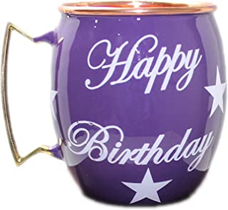 PARIJAT HANDICRAFT Happy Birthday Hand Painted Copper Mugs Special Deign For Gift On Birthday Moscow Mule Mugs Cups Mugs S...