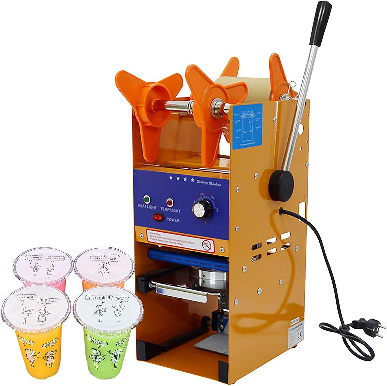 KOOWARM Máquina de Sellado Manual de Tazas para Tiendas de té con Leche, cafetería Sellador de Vasos de plástico Ø 90-95 mm Sellador de Tazas de té de Burbujas, para sellar Vasos de Papel PP Pet