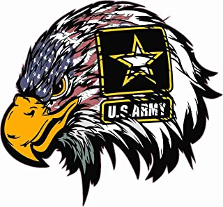 Techstore stickers Patriot 003 -US Army American Flag Eagle Head Decal Sticker, Bumper Sticker, Back Windows, Cars, Trucks, Laptops (9