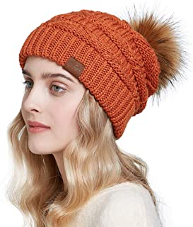 SOMALER Women Winter Knit Slouchy Beanie Hats with Faux Fur Pom Pom Thick Warm Chunky Baggy hat Ski Cap