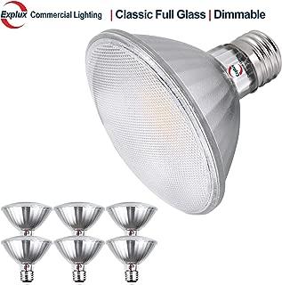 Explux Classic Full-Glass PAR30 Short Neck LED Flood Light Bulbs, Dimmable, 2700K Soft White, Indoor/Outdoor, 75W Equivalent, 6-Pack