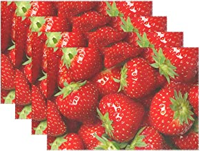 WOZO Red Strawberry Fruit Placemat Table Mat 12 x 18 Polyester Table Place Mat for Kitchen Dining Room Set of 6