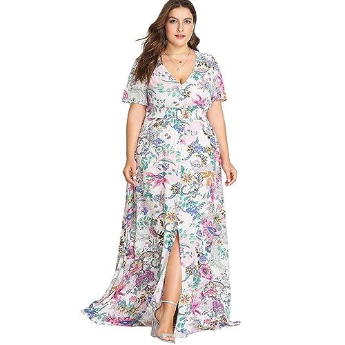 f126ab95e74 Romwe Women s Plus Size Floral Print Buttons Short Sleeve Split Flowy Maxi  Dress