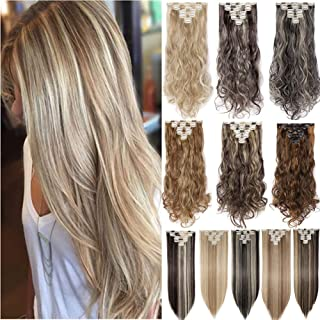 Ombre Clip in Full Head Hair Extensions Wavy Straight 8PCS/SET Two Tones Dip Dye Color Synthetic Fibre Hair Hairpieces for Women(26