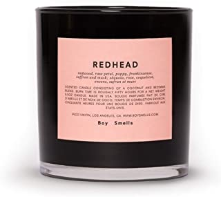 Boy Smells Redhead Candle, All Natural Beeswax and Coconut Wax Blend with Braided Cotton Wick in a Glossy Black Glass Tumbler, 55 Hour Burn Time, 8.5 Ounces