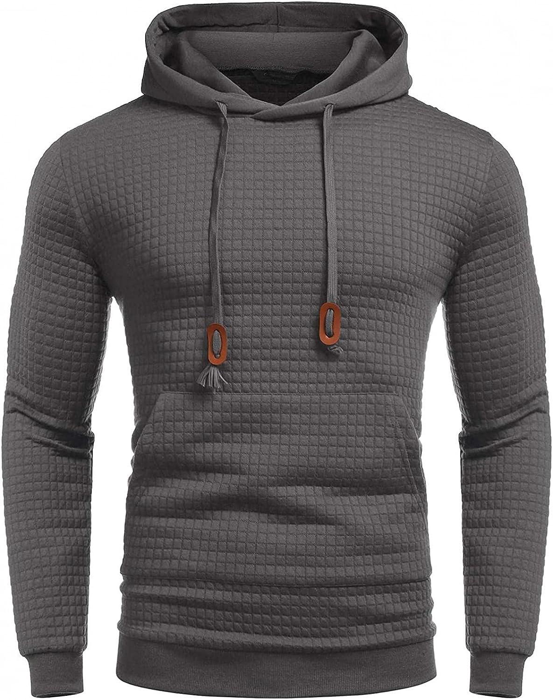 Aayomet Hoodies for Men Pullover Slim Solid Color Plaid Long Sleeve Sweatshirt Hooded Outwear Hoodies Tops