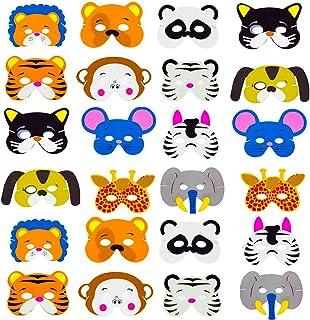 SWZY EVA Mascarilla Animal,24 Mascarillas de Espuma EVA para niños para Bolsas de Fiesta, máscara, Fiesta de cumpleaños, Navidad, Halloween