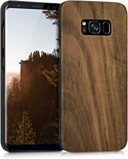 kwmobile Wood Case Compatible with Samsung Galaxy S8 - Non-Slip Natural Solid Hard Wooden Protective Cover - Dark Brown