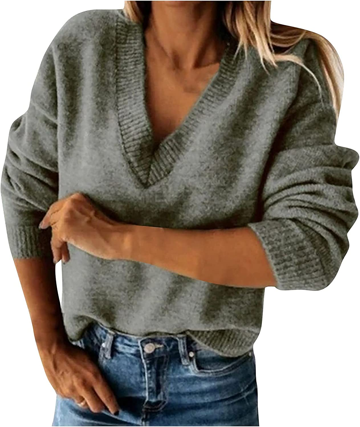 Women's Fashion V-neck Solid Color Sweater Long Sleeve Sheep Fleece Loose Knit Pullover Top