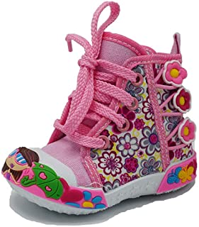 ShoBeautiful Girls High Top Canvas Sneaker Candy Flower Animal Printed Side Zipper Casual Shoes (Toddler/Little Kid)