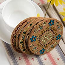 8 Pcs/2 Sets Cork Coasters Round Cup Mat Drink Coasters Mats Absorbent Cup Pad Heat Insulation Beautiful Pattern Printed Decor Tools by NUOMI for Mugs Cups Bottles, 10 CM, Multicolor