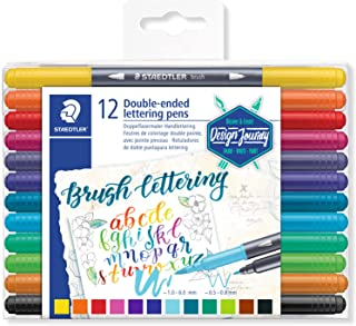 STAEDTLER Design Journey 3004 TB12 double-ended lettering pens in 12 assorted colours, 17,2 x 12,4 x 1 cm