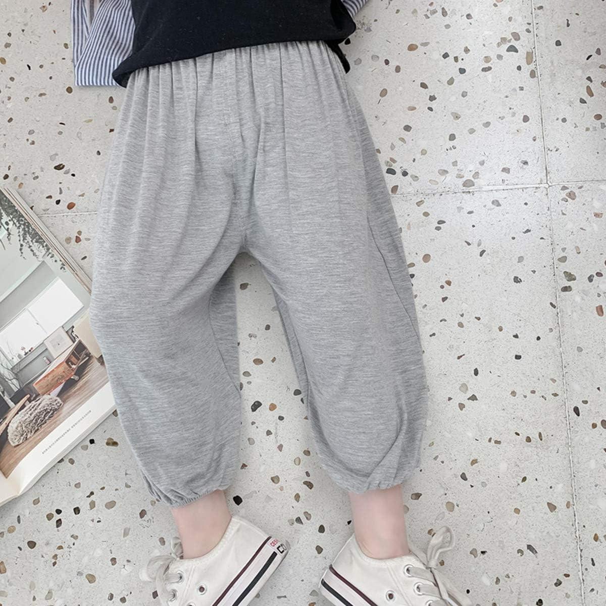 OnlyAngel Kids Boys Harem Pants Solid Elastic Waist Drop-Crotch Dance Active Pants Age 3-8 Years