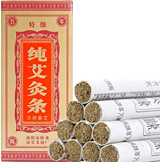 Moxa Sticks Pure Handmade Rolls Mugwort Moxibustion Artemisia Wormwood Natural Herbal Chinese Medicine(10 per Box)