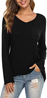 بلايز لويكيث للنساء برقبة على شكل حرف V قمصان طويلة الأكمام برباط مصبوغ كاجوال فضفاض أساسي الخريف مع جيوب
