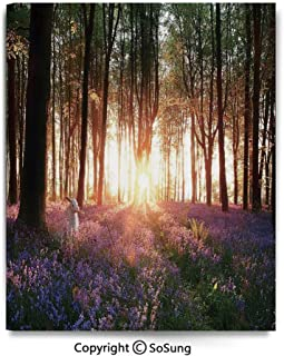 Canvas Wall Art Stunning Bluebell Woods Sunrise with White Rabbit Sunny Spring Day in Woodland Home Decorations for Bedroom Living Room Oil Paintings Canvas Prints Framed 24x36inch Purple Green