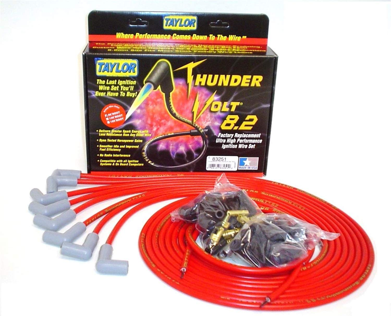 Taylor Cable 83251 Red Universal 70% OFF Outlet S ThunderVolt 8.2 Ignition Price reduction Wire