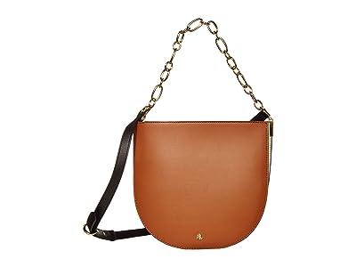 LAUREN Ralph Lauren Super Smooth Leather Sawyer 25 Shoulder Medium (Lauren Tan/Vanilla/Black) Handbags