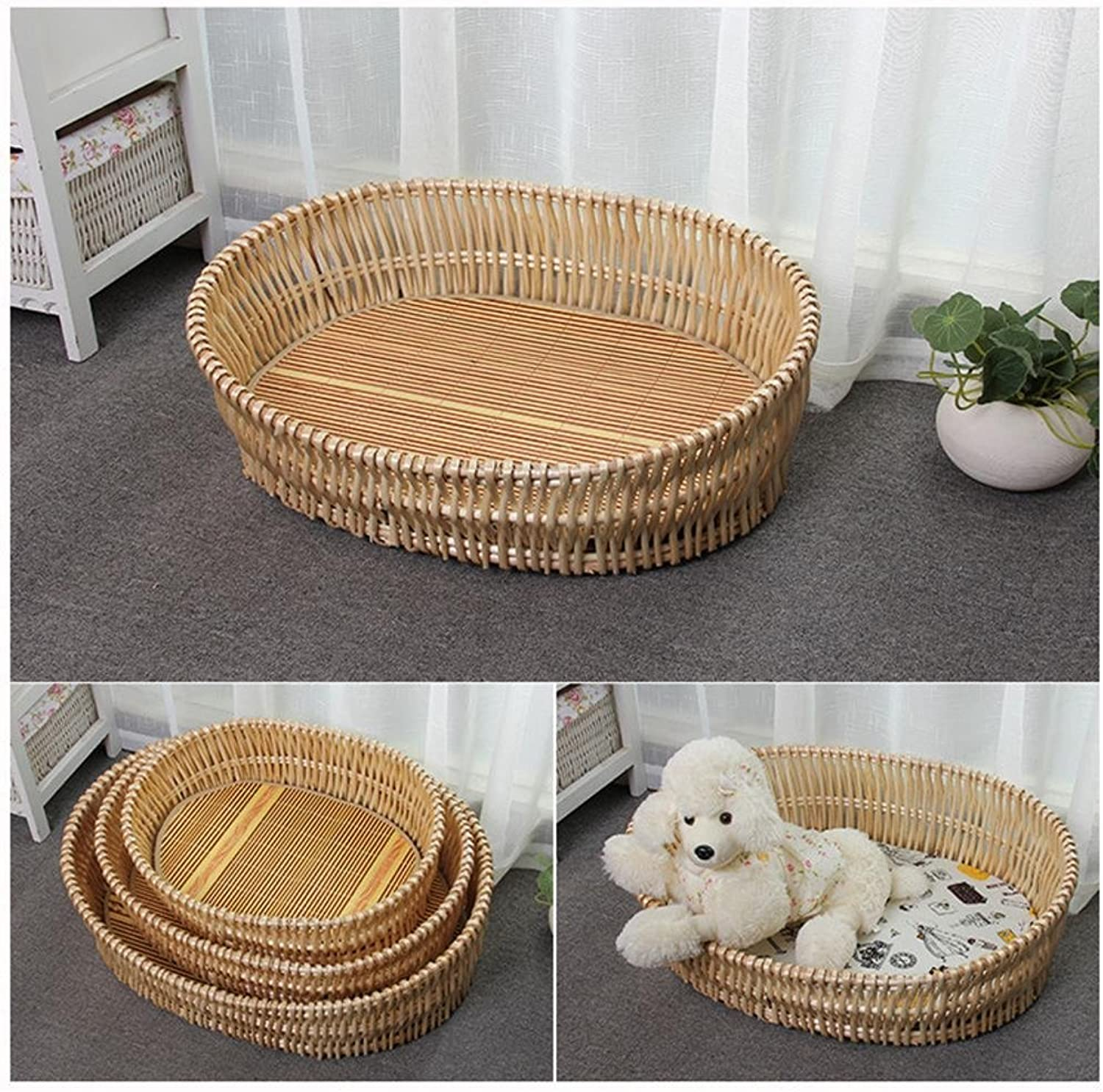 Lozse Pet Beds Washable Kennel Rattan dog house cat cage Willow Pet Nest Size type 70x50cm for Dogs and Cats Sleeping Cushion