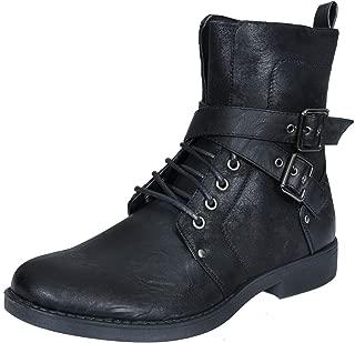 ELONG Men's Punk Rock Goth Elmo Ankle Boots Zip Biker Leather Buckle