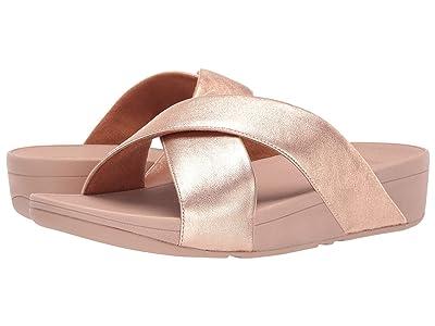 FitFlop Lulu Cross Slide Leather Sandal (Rose Gold) Women