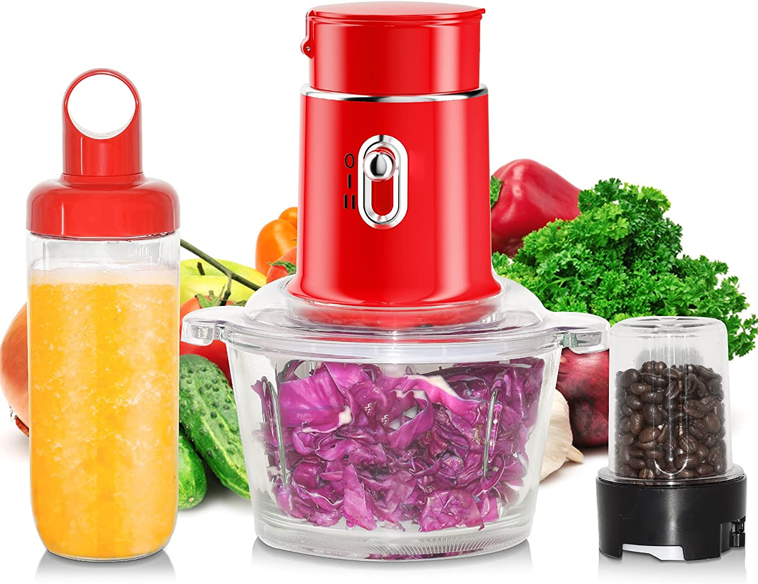 Food Processor Blender Combo - Electric Vegetable Chopper, 3 in 1 High Speed Smoothie Blender, 250W Food Chopper for Meat Fruits with 1.5L Glass Bowl, Coffee Grinder