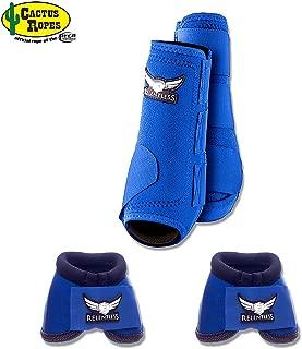 CACTUS ROPES Large Blue Relentless Trevor Brazile Horse 2 Front Leg Sport 2 Bell Boot Set