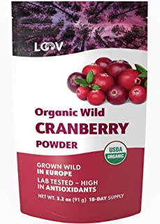 Organic Wild Cranberry Powder, Made from 100% Whole Organic Cranberry Fruit, Freeze Dried and Powdered Cranberries, Raw, 18-Day Supply, 3.2 oz, no Added Sugar