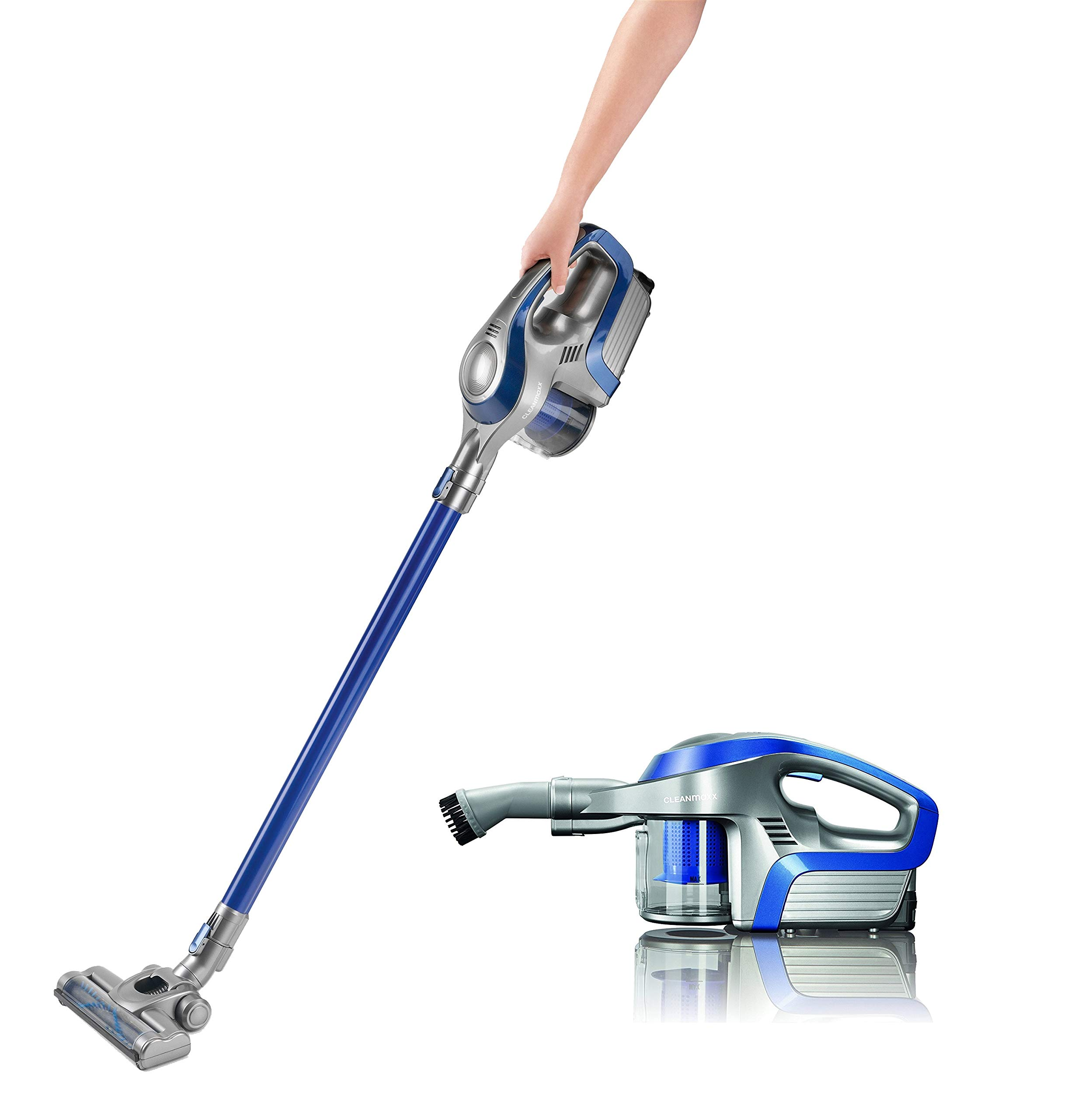 CLEANmaxx Aspiradora ciclónica sin Cable sin Bolsa con batería Recargable | aspiradora de Piso 2 en 1 y aspiradora de Mano, Potente y de bajo Consumo [Azul/Plateado]: Amazon.es: Hogar