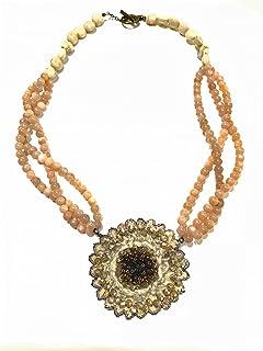【ネックレス】【完成品】ビーズ刺繍 和紙 ひまわり 天然石 オレンジムーンストーン