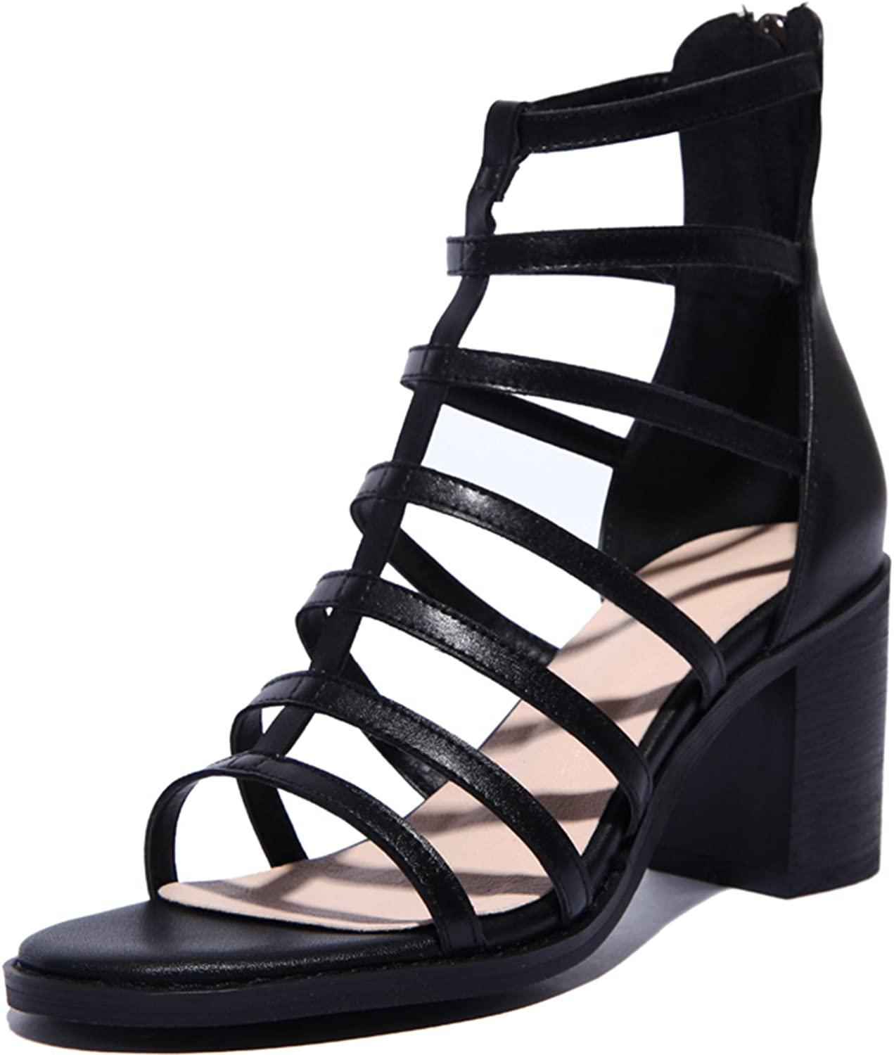 DoraTasia Women's Summer Open Toe Ankle Strap Strappy Block Chunky Sandals