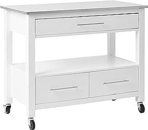 ACME Furniture Isl Ottawa Kitchen Island, Stainless Steel/White