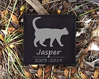 BJSM Personalized Marble Pet Memorial Stepping Stone Plaque -Features Name and Date - Duarble & Water Proof - Garden Grave Marker (5''5'', Walking cat)
