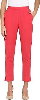 Janasya Women's Cotton Plain Narrow Pant