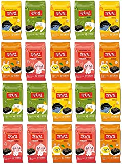 Kwangcheonkim Kim Nori Kakao Friends Roasted Seasoned Seaweed Snacks 5g X 20 Packs = 100 grams / 20 Individual Packs / 김, のり, 海苔, 紫菜