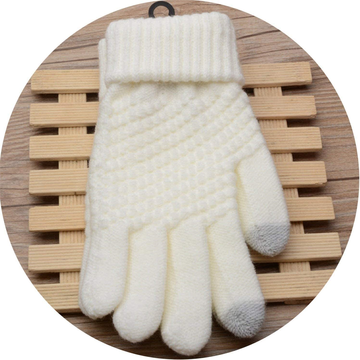 Warm Gloves Solid Magic Gloves Women Girl Female Stretch Knit Touch Screen Winter Warm Accessories Wool Guantes Mittens Gloves (Color : White, Size : Oneszie)