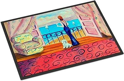"""Caroline's Treasures Westie with Mom and a View Indoor Outdoor Doormat, 18"""" x 27"""", Multicolor"""