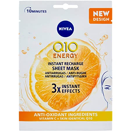 NIVEA Q10 Energy Mascarilla de Tejido con Vitamina C (1 ud), mascarilla antiarrugas con 3 efectos instantáneos, mascarilla facial con coenzima Q10 y vitamina C