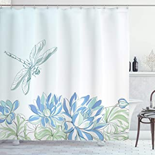Ambesonne Dragonfly Shower Curtain, Waterlilies Flowers and Dragonflies Simplistic Design Eco Nature Theme Artwork, Cloth Fabric Bathroom Decor Set with Hooks, 75