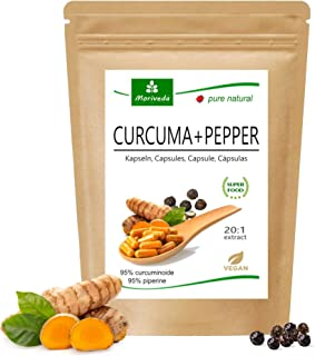 MoriVeda® Curcuma + Pepper Extract Kapslar (6 månaders leverans) | 10 000 mg tumör i bara en kapsel | 95% curcumin, 95% pi...