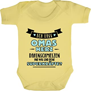ShirtStreet Geburtstagsgeschenk Muttertagsgeschenk Strampler Bio Baumwoll Baby Body kurzarm Jungen Mädchen Junge - Ich lass Omas Herz dahinschmelzen